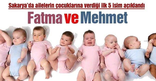 Sakarya'da ailelerin çocuklarına verdiği ilk 5 isim açıklandı