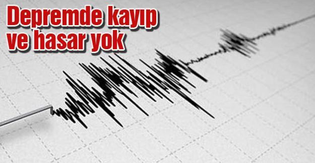 Depremde herhangi bir kayıp ve hasar yok