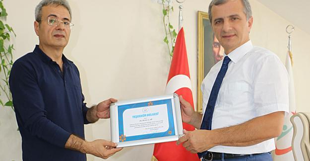 Dr. Metin Çar'a teşekkür belgesi
