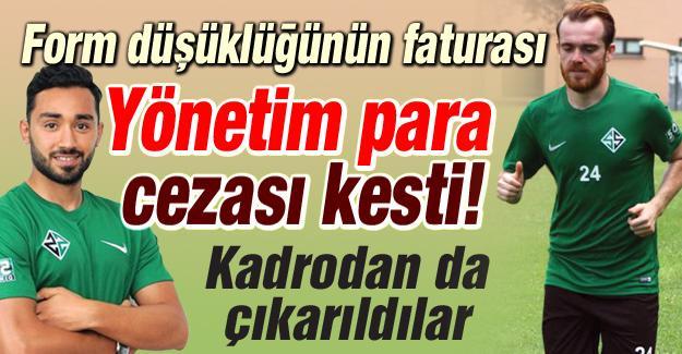 Sakaryaspor'da 2 futbolcuya ceza!