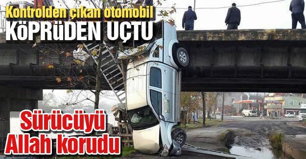 Kontrolden çıkan otomobil köprüden uçtu