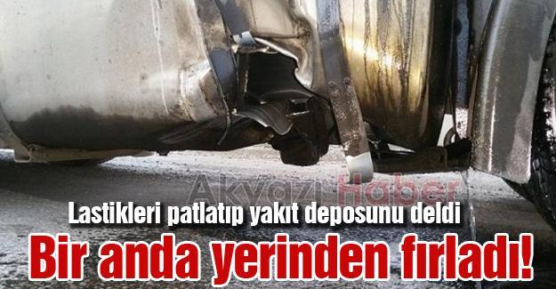 Lastikleri patlatıp yakıt deposunu deldi