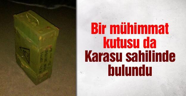 Bir mühimmat kutusu da Karasu sahilinde bulundu