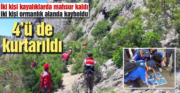 İki kişi kayalıklarda mahsur kaldı