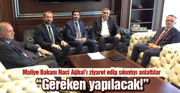 Maliye Bakanı Naci Ağbal'ı ziyaret ettiler