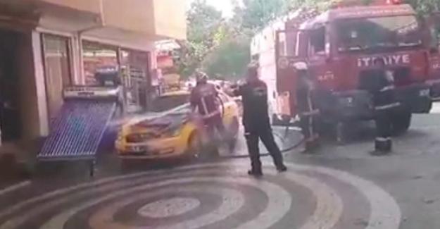 Pamukova'da araç yangını