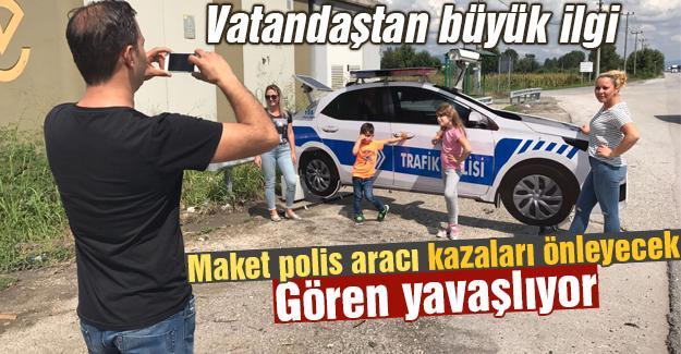 Maket polis aracı kazaları önleyecek