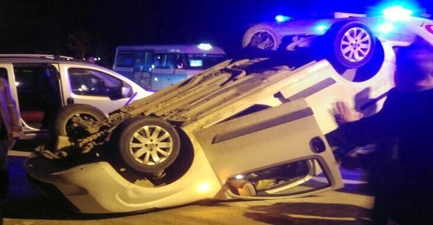 Direksiyon hakimiyetini kaybeden otomobil devrildi