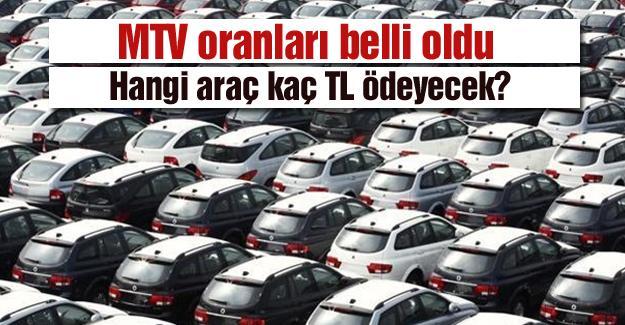MTV oranları belli oldu! Hangi araç kaç TL ödeyecek?