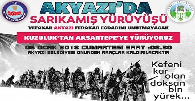Akyazı'da Sarıkamış yürüyüşü