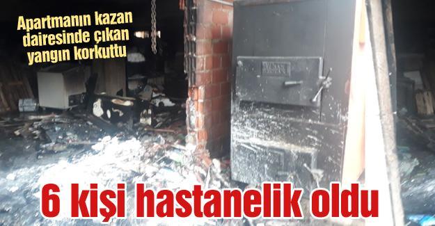 Apartmanın kazan dairesinde çıkan yangın korkuttu