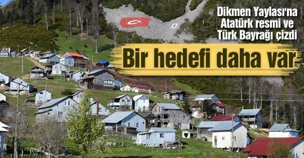 Dikmen Yaylası'na Atatürk resmi ve Türk Bayrağı çizdi