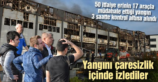 Fabrika yangını 3 saatte kontrol altına alınabildi