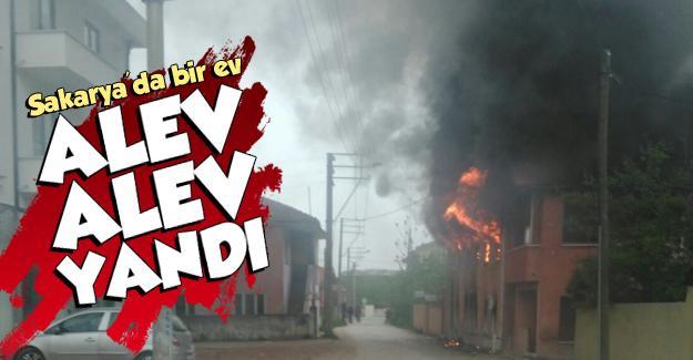 Sakarya'da bir ev alev alev yandı
