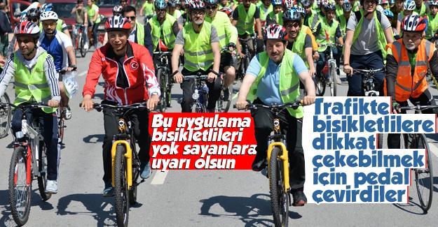 Trafikte bisiklet kullanımına dikkat çektiler