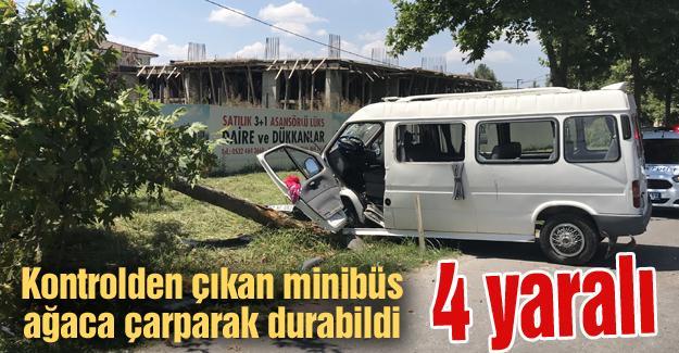 Kontrolden çıkan minibüs ağaca çarptı! 4 yaralı