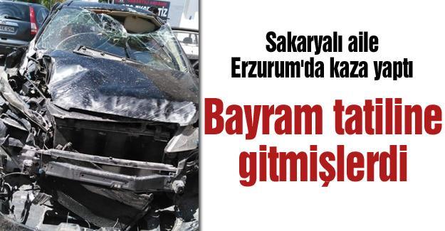 Sakaryalı aile Erzurum'da kaza yaptı