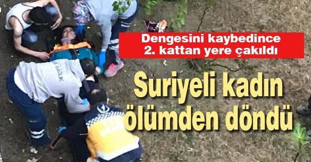 Suriyeli kadın 2. kattan yere çakıldı