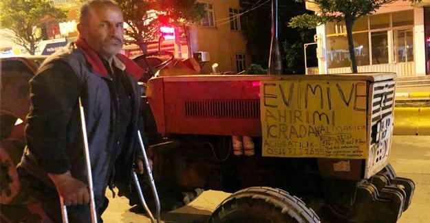 İcralık olan evi ve ahırı için traktörünü satılığa çıkarttı