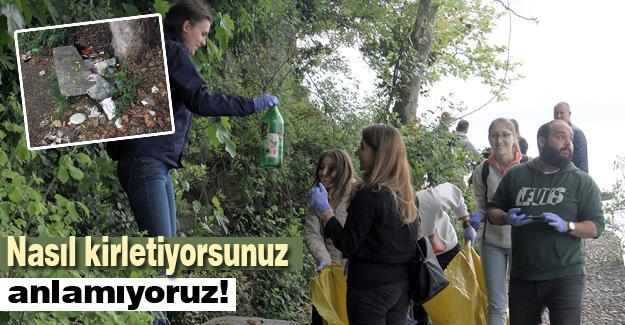 Yabancı öğrenciler gölde temizlik yaptı