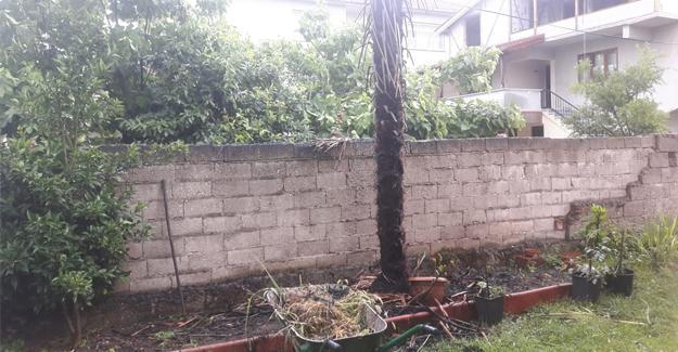 Akyazı'da evin bahçesine yıldırım düştü
