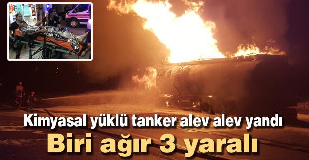Kimyasal yüklü tanker alev alev yandı! 3yaralı