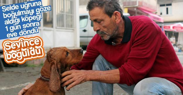 Selden geri gelen köpeğini görünce sevince boğuldu
