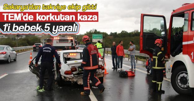 TEM'de korkutan kaza: 5 yaralı