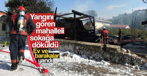 Yangın mahalleli sokağa döküldü