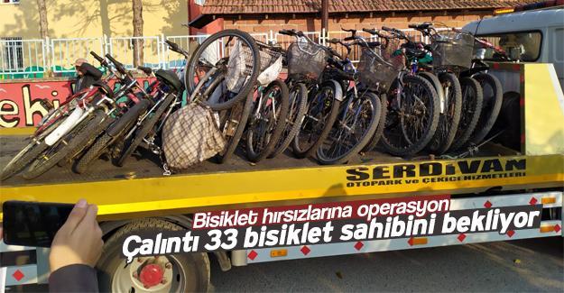 Çalınan 33 bisiklet sahibini bekliyor
