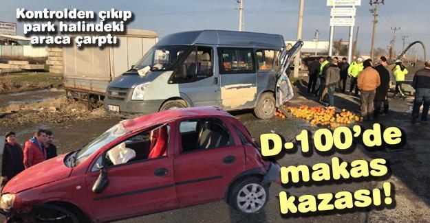 D-100'de makas kazası!