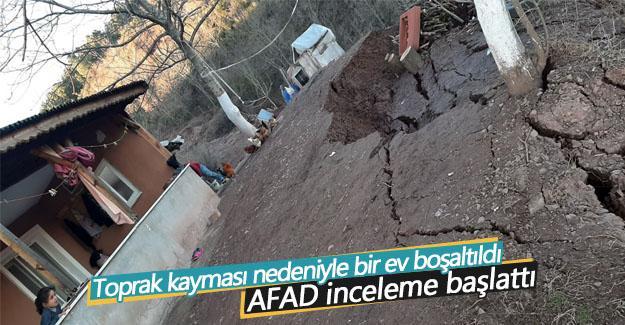 Toprak kayması nedeniyle bir ev boşaltıldı