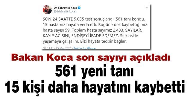 561 yeni tanı! 15 kişi daha hayatını kaybetti