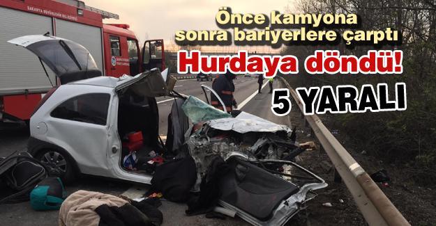 Hurdaya dönen araçtaki 5 kişi yaralandı