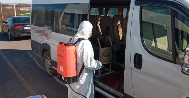 Okul servis araçları dezenfekte edildi