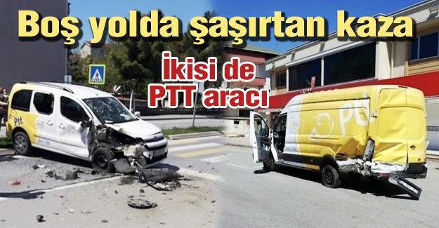 Boş yolda şaşırtan kaza!