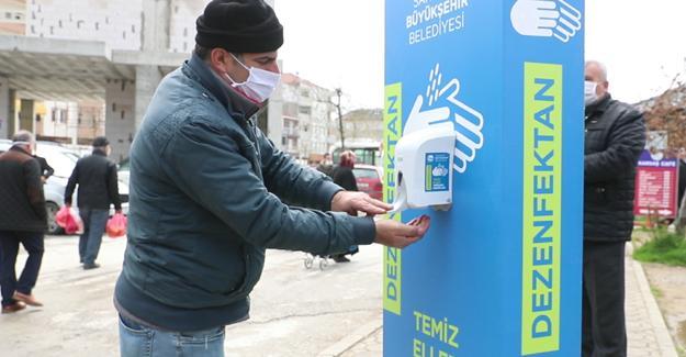 İlçelere de dezenfekte cihazları konuldu