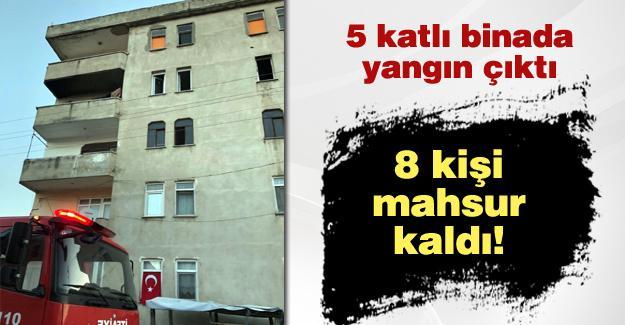 5 katlı binada yangın çıktı! 8 kişi mahsur kaldı!