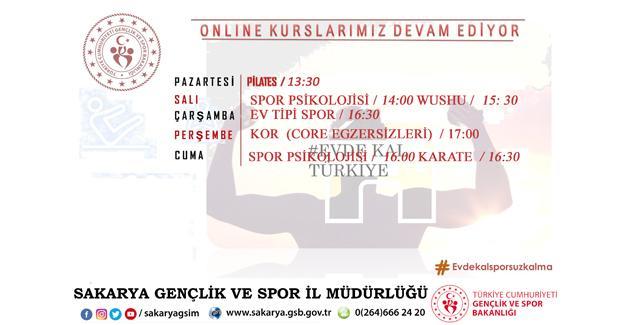 Gençlik ve Spor İl Müdürlüğü'nden online spor kursu