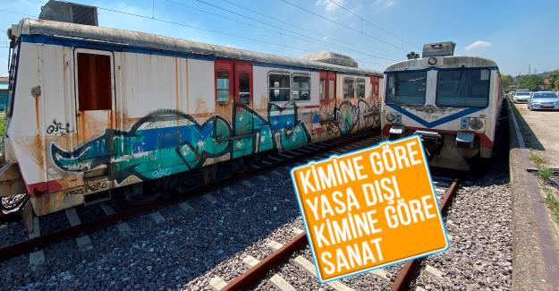 Tarihi boş vagonlar grafiticilerin mekanı oldu