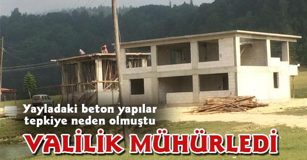 Yayladaki beton yapılar Valilik tarafından mühürlendi