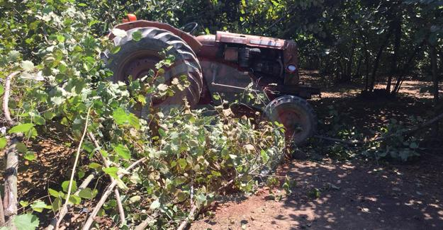 Devrilen traktörün altında can verdi!