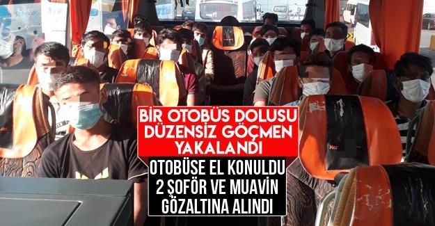 TEM'de otobüste 21 düzensiz göçmen yakalandı