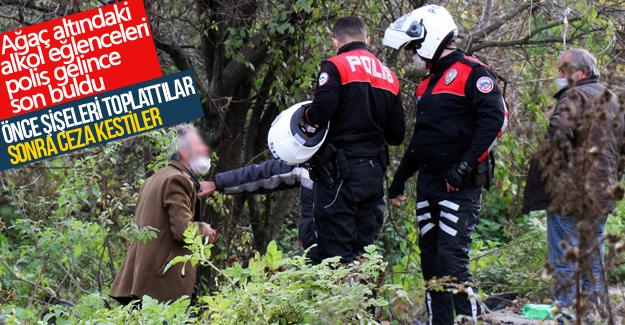 Ağaç altındaki alkol eğlenceleri polis gelince son buldu