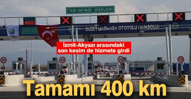 72,72 km'lik İzmit-Akyazı arasındaki son kesim de hizmete girdi