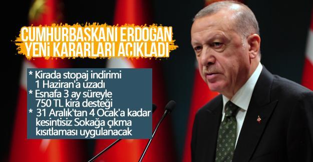Cumhurbaşkanı Recep Tayyip Erdoğan yeni tedbirleri açıkladı