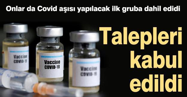 Onlar da Covid aşısı yapılacak ilk gruba dahil edidi