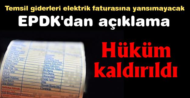 Temsil giderleri elektrik faturasına yansımayacak!