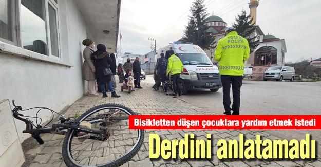 Bisikletten düşen çocuklara yardım etmek istedi! Derdini anlatamadı