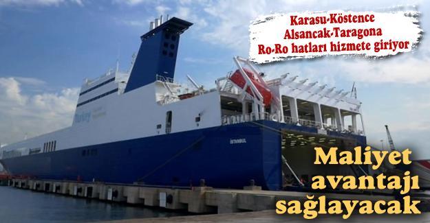 Karasu-Köstence Alsancak-Taragona Ro-Ro hatları hizmete giriyor